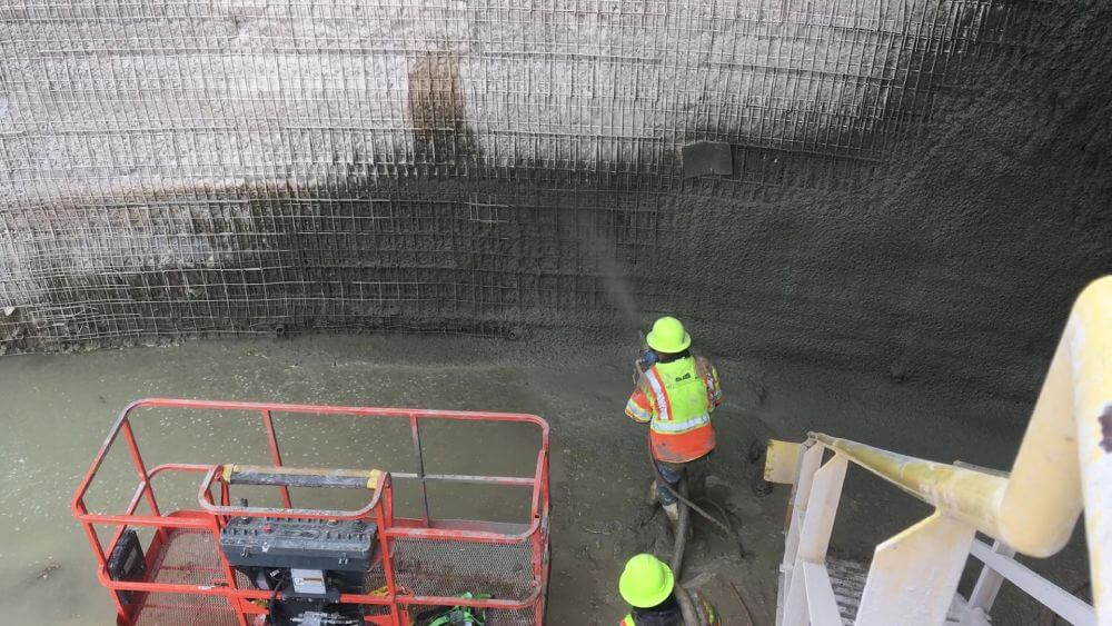Shotcrete application for wall rehabilitation